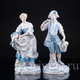 Статуэтка из фарфора Пара в голубом, Франция,, 19 в.