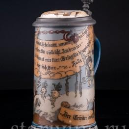 Старинная пивная кружка Выпивоха на Олимпе, 1/2 л, Villeroy & Boch, Mettlach, Германия, 1892 г.